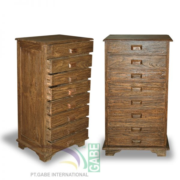 CHEST MAHE RUSTIC MODIFICATION 6+2 DRAWERS TEAK