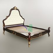 PALACE ANTIQUE BROWN GOLD BED MAHOGANY